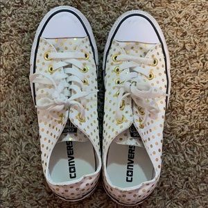 converse white and gold polka dot sneaker